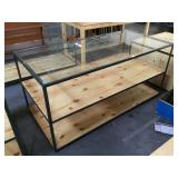 Glass top table w/metal frame and pinewood