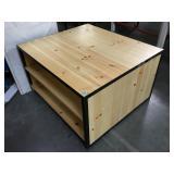Pinewood coffee table w/metal frame and storage,
