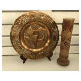 Carved stone Incense holder, 10 1/2 inches tall &