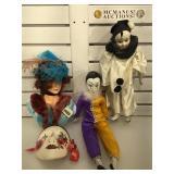 Porcelain clown dolls, wall bust & mask