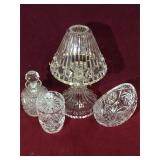 Crystal candle lamp, crystal candy dish, crystal