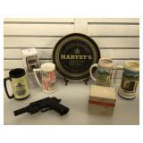 Pellet gun, no clip, beer mugs, collector tin &