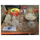 Lot of vintage cut glass, crystal, nesting tins,