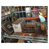 Top shelf - metal ship decorations, pipe holder,