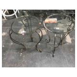 Pair of metal side tables with beveled glass tops
