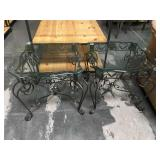 Pair of metal based side tables with beveled