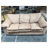 3 cushion leather and micro suede sofa - some