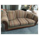 3 cushion wood frame sofa with 2 pillows - 7 foot