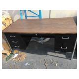 5 foot long wood top metal desk with drawers