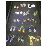 16 pairs of fashion costume jewelry earrings,
