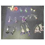 Assortment of 8 pairs of.fashion costume jewelry