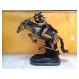Frederick Remington, bronze on marble, Cherokee