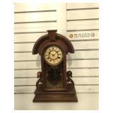 New Haven Antique walnut shelf clock, not key or