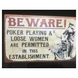 Beware tin sign, 10 x 14