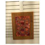 Mod Art , wood , cloth, burlap , 24.5 x 18.5 in
