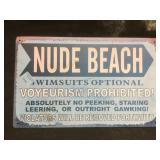 Nude Beach sign, 10 x 16 in