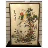 Japanese silk art w/Peacock, approx 17.8x26