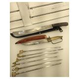 Machete, India knife, 6 skewer, approx 18 inches