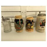 4 German Beer Steins, approx 8 inches the tallest
