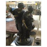 Bronze statue w/marble base, named 'Lovers