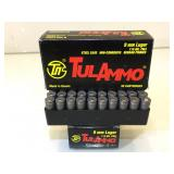 100 Rounds 9mm Ammo - Tulammo 115Gr FMJ - New
