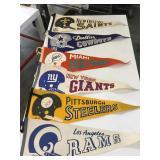 Large lot of vintage football pennants