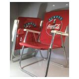 Two Always CocaCola Folding Lawn Chairs.