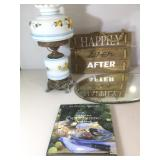 Vintage Electric hurricane Lamp 21in.H shade is