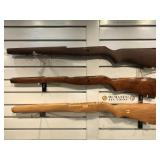 3 Military wooden rifle stocks w/cleaning kit
