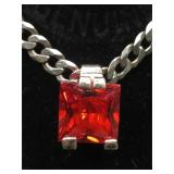 Sterling Silver necklace with large red stone -