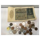 Lot of foreign coinage and large 10,000 Marks
