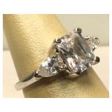 Sterling Silver ring with Clear Stones - size 7