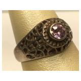 Sterling Silver ring with Pink Stone - size 7