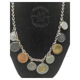 Sterling Silver Charm Necklace with Italian Coins