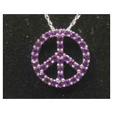 New Sterling Silver Peace Sign necklace with