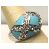 Sterling Silver ring with blue and clear stones -