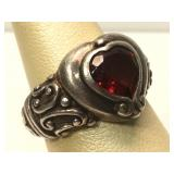 Sterling Silver ring with Red Heart Stone - size