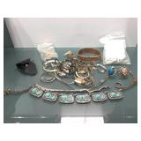 Lot of assorted jewelry and parts - some Silver