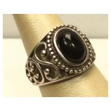 Sterling Silver ring with Onyx stone - size 8