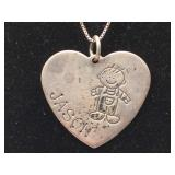 Sterling Silver Signed Heart Necklace - Jason -