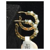 14k Gold Earrings with pearls and colored stones