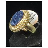 14K Gold drusey crystal ring size 10