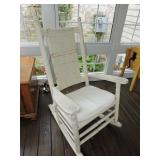 Vintage White Cane Rocking Chair