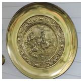 Vintage Renaissance Brass Plate Wall Hanging