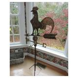 Antique Copper Freestanding Rooster Weathervane