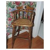 19th C. Oak High Chair w/ Cane Seat