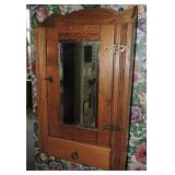 19th C. Eastlake Oak Mirrored Medicine Cabinet
