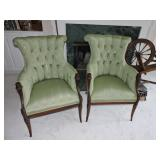 Vintage Hollywood Regency Tufted Chairs