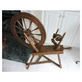 19th C. Walnut Saxony Spinning Wheel