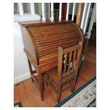 Vintage Childs Roll Top Desk & Chair